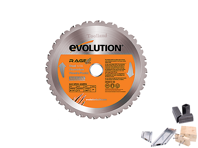 Evolution TCT Multipurpose zaagblad 210 X 25,4mm  24 tands ( Rage3-S )