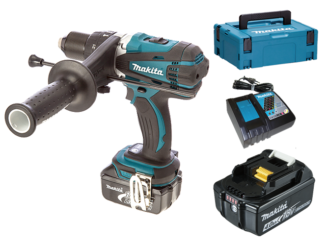 Makita DHP458RMJ 91Nm (Klop)boor-schroefmachine M-box2  2xBL1840B 4,0 Ah LED  0088381653909   www.toolland.nl