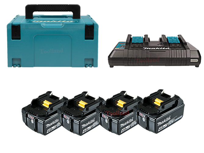Makita Power-kit  BL1840B 4,0Ah (4x) + Duo snellader DC18RD  M-Box3 197626-8-44