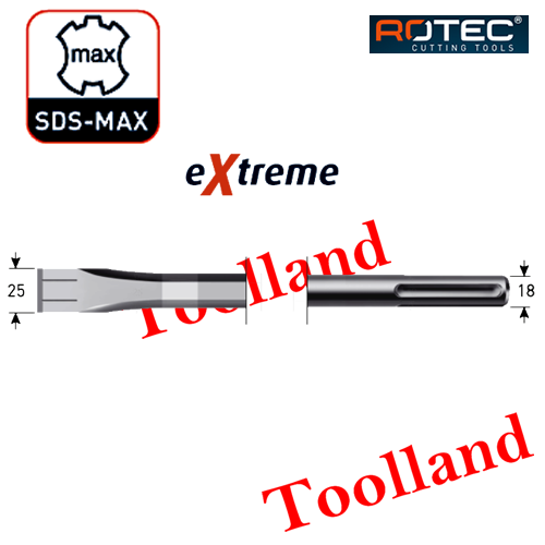 Rotec 215.1110  215.1111 SDS-MAX Platte beitel  Extreme 25 x mm www.toolland.nl